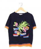 LEONARD SPORT(レオナールスポーツ)の古着「フラワーデザイン半袖ニット」|ネイビー