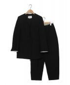 ENFOLD(エンフォルド)の古着「サマーダブルクロスノーカラーセットアップ」|ブラック