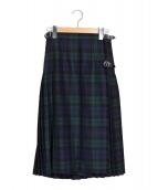 ONEIL OF DUBLIN(オニールオブダブリン)の古着「アコーディオンキルトスカート」 グリーン