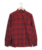 MINEDENIM(マインデニム)の古着「チェックオープンカラーシャツ」|レッド