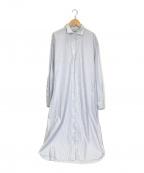 BASERANGE(ベースレンジ)の古着「Ole Shirt Dress シャツドレス」|ホワイト×ブルー