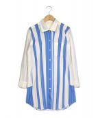 ()の古着「プリーツストライプシャツ」 ホワイト×ブルー