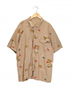 PAPAS(パパス)の古着「総柄リネンシャツ」 ベージュ