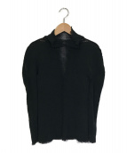 ISSEY MIYAKE(イッセイミヤケ)の古着「フリンジハイネックカットソー」|ブラック