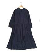 GRANDMA MAMA DAUGHTER(グランマママドーター)の古着「チャイナボタンマオカラーワンピース」|インディゴ