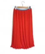 ck Calvin Klein(シーケーカルバンクライン)の古着「ポリシアープリーツスカート」|レッド