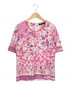LEONARD(レオナール)の古着「フラワープリント半袖カットソー」 ホワイト×ピンク