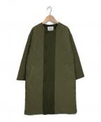 GRANDMA MAMA DAUGHTER(グランマママドーター)の古着「ノーカラーキルティングコート」|オリーブ