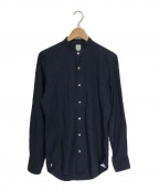 finamore(フィナモレ)の古着「バンドカラーシャツ」 ブラック