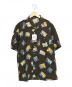 PAPAS(パパス)の古着「FIREWORKS BEARシャツ」 ブラウン