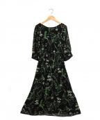 EMMEL REFINES(エメル リファインズ)の古着「ボタイニカルプリントワンピース」|ブラック