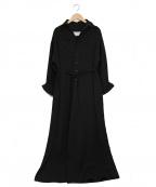BLUEBIRD BOULEVARD(ルーバード ブルバード)の古着「別注ソフトツイルシャツドレス」 ブラック