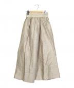 Curensology(カレンソロジー)の古着「リネンシルクギャザースカート」|ベージュ