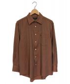 ()の古着「ホースロゴ刺繍ウールシャツ」|ブラウン