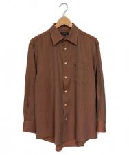 BURBERRY LONDON (バーバリーロンドン) ホースロゴ刺繍ウールシャツ ブラウン サイズ:M