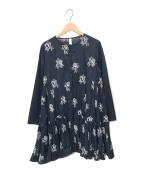 merlette(マーレット)の古着「フラワー柄刺繍ティアードワンピース」|ネイビー