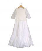 ARPEGE STORY()の古着「ニットドッキングギャザーシャツワンピース」 ホワイト