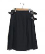 O'NEIL OF DUBLIN(オニールオブダブリン)の古着「プリーツ レザーベルト ソリッド スカート」 ブラック