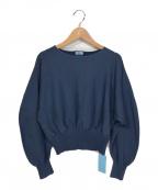 KUMIKYOKU(クミキョク)の古着「【洗える】スムースストレッチ ボリュームスリーブプルオーバー」|ブルー