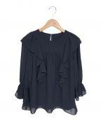 KUMIKYOKU(クミキョク)の古着「フリルディテール ブラウス」|ネイビー