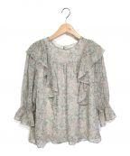 KUMIKYOKU(クミキョク)の古着「フリルディテール ブラウス」|グリーン×レッド