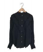 ()の古着「エアリーコットンフリルブラウス」|ブラック