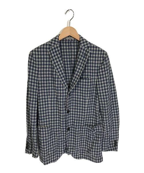 BOGLIOLI(ボリオリ)BOGLIOLI (ボリオリ) DORVER3Bウールチェックジャケット グレー×ブルー サイズ:46の古着・服飾アイテム