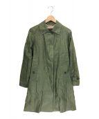 ()の古着「リネンステンカラーコート」|グリーン