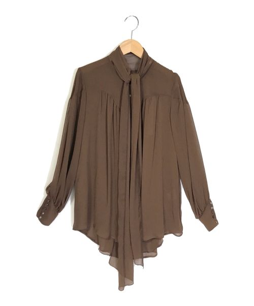 LOUNIE(ルーニィ)LOUNIE (ルーニィ) ボウタイブラウス ブラウン サイズ:36 未使用品の古着・服飾アイテム