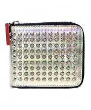Christian Louboutin(クリスチャンルブタン)の古着「スパイクラウンドファスナー財布」|シルバー