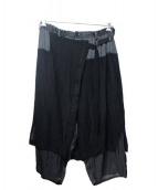 Yohji Yamamoto pour homme(ヨウジヤマモトプールオム)の古着「LOOK8切替ラップパンツ」|ブラック