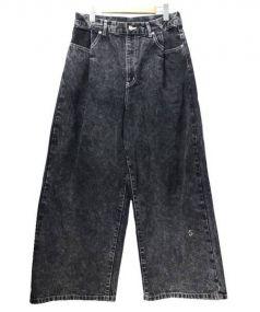 Edwina Horl(エドウィナホール)の古着「ワイドブラックデニムパンツ」|ブラック