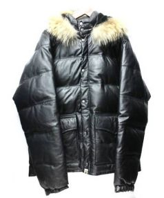 A BATHING APE(ア ベイシング エイプ)の古着「Fur with Leather Down Jacket」|ブラック
