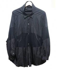 UNDER COVER(アンダーカバー)の古着「ニードルmix抜衿f字ブラウス」 ブラック