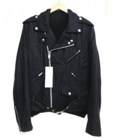 BLACK COMME des GARCONS(ブラックコムデギャルソン)の古着「ニット切替ライダースジャケット」 ブラック