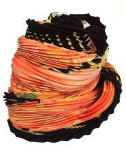 HERMES(エルメス)の古着「シルクプリーツスカーフ」|ブラック×オレンジ