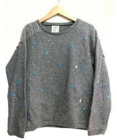 ZAZi(ザジ)の古着「刺繍デザインニット」|グレー