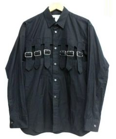 COMME des GARCONS SHIRT(コムデギャルソンシャツ)の古着「ベルトデザイン長袖シャツ」|ブラック