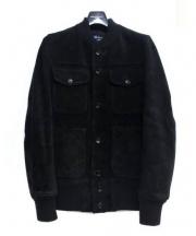 COMME des GARCONS HOMME(コムデギャルソンオム)の古着「スウェードレザーブルゾン」 ブラック