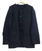 COMME des GARCONS HommePlus(コムデギャルソン・オム・プリュス)の古着「ポリ縮絨ノーカラージャケット」 ネイビー