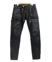 blackmeans(ブラックミーンズ)の古着「ZIPレザーパンツ」|ブラック
