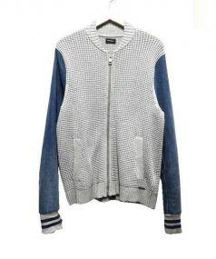 DIESEL(ディーゼル)の古着「切替ニットデニムジャケット」 グレー×ブルー