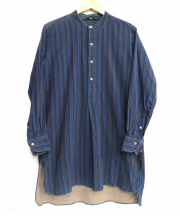45rpm(45アールピーエム)の古着「バンドカラーロングシャツ」|ブルー