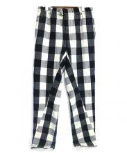 UNUSED(アンユーズド)の古着「ウールチェックパンツ」|ブラック×ホワイト