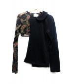 COMME des GARCONS(コムデギャルソン)の古着「シンメトリーポリ縮ブラウス」|ブラック