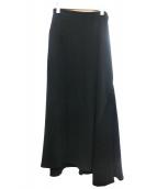 Yohji Yamamoto(ヤマモトヨウジ)の古着「異素材フレアロングスカート」|ブラック
