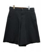 COMME des GARCONS HOMME PLUS(コムデギャルソンオムプリュス)の古着「ポリ縮ワイドストライプショーツハーフパンツ」|ブラック