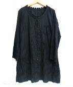 ISSEY MIYAKE HaaT(イッセイミヤケハート)の古着「ノーカラー刺繍シャツワンピース」|ブラック