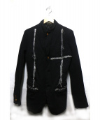 COMME des GARCONS HOMME PLUS(コムデギャルソンオムプリュス)の古着「ジップデザインポリ縮ジャケット」|ブラック