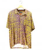 DOUBLE RAINBOUU(ダブルレインボー)の古着「レオパードオープンカラーシャツ」|パープル×イエロー